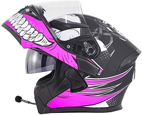 YLFC Casco de Moto con Bluetooth Integrado, Casco Modular de Motos, para Patinete Electrico Motocicleta Bicicleta Scooter con Gafas de Doble Protección Mujer y Hombre (Color : 2, Size : XXL)
