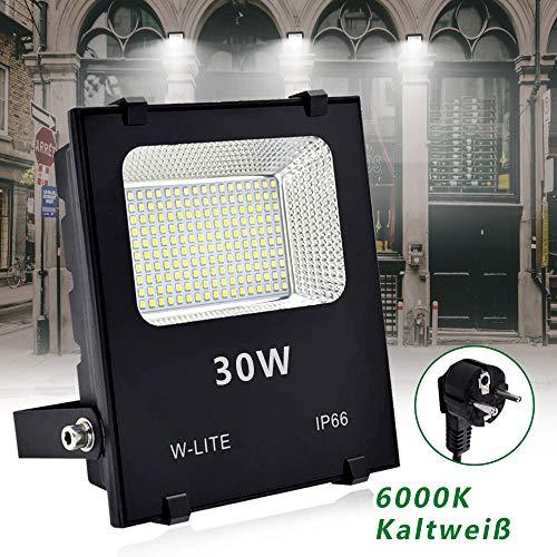 DLLT Superhell LED Strahler Außen 30W, Aussenleuchte mit EU-Stecker,200 LED-Chips 6000k Kaltweiß, 3200lm IP66 Wasserfest, Aluminium Flutlicht für Garten, Garage, Innenhöfe, Hotel