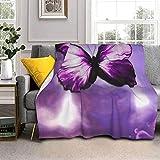Manta de lana de cordero con diseño de mariposa, color morado y piel de zorro plateada, ultrasuave, para sofá, cama, hombres, mujeres y bebés