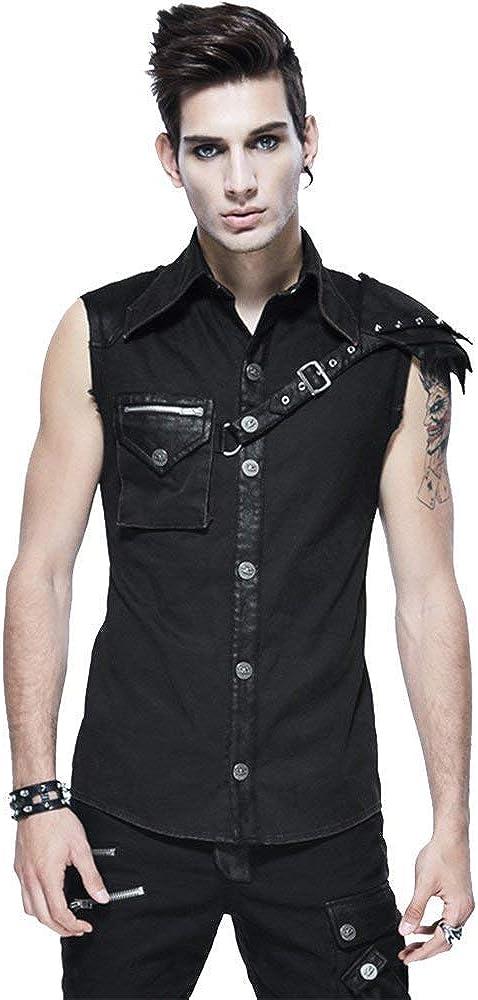 Devil ランキング総合1位 Fashion 返品不可 Mens Punk Shirt Black Su Slim-Fitting Casual