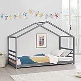 [en.casa] Lit d'enfant Design Maison Lit Cabane Pin Contreplaqué Solide Gris Foncé 206 x 98 x 142 cm