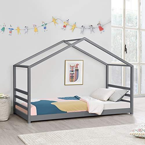 Cama para niños de Pino Vardø 90 x 200 cm Cama Infantil Forma de Casa Cama Simple Cama Individual Gris Oscuro Lacado Mate