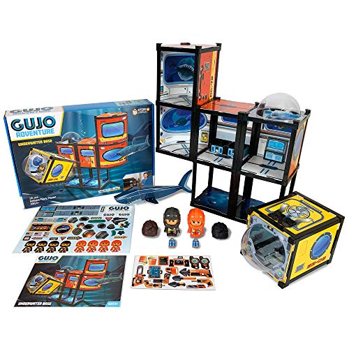 GUJO Adventure Underwater Base & Minisub Kids Play Set, Build-Your-Own Deep Sea Research Station - STEM Toy for Boys Ages 7-11