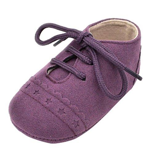 Amlaiworld_Primeros pasos Zapatos De Bebé, niño niña zapatillas de bebé antideslizante de encaje hasta zapatos 0-18 Mes (Tamaño:0-6Mes, Púrpura)
