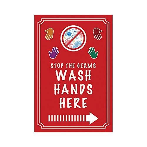 Señal de metal con texto en inglés «Stop the Germs Wash Hands Here» de aluminio para negocios, restaurantes, bares, oficinas, hogares, cs_lns208