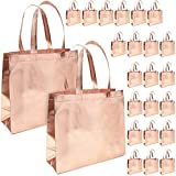 Reusable Grocery Tote Bags with Handles for Holidays, Weddings and Birthdays (9 x 13.5 Inches, Rose Gold, 24-Pack)