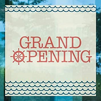 Nautical Waves Window Cling Grand Opening 5-Pack 12x12 CGSignLab