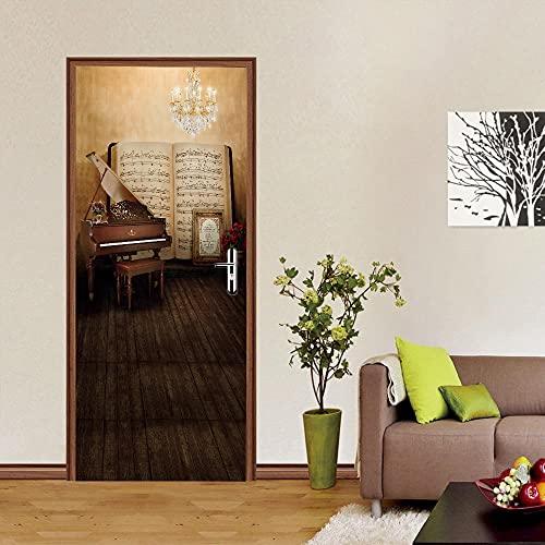 Decalcomanie per porte 3D Spartiti per pianoforte Adesivi per Porte Stereo l'oeil Carta da Parati Impermeabile in PVC per Camera da Letto 77x200cm