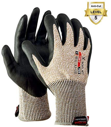KARBONHEX LESOLEIL Sicherheitsschneidende Arbeitshandschuhe Schnittfest EN 388 zertifiziert Schutzstufe 5 Volle Finger Berührungssensitiver Bildschirm für Küche, Garten oder Outdoor XL