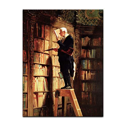 Kunstdruck Poster - Carl Spitzweg Der Bücherwurm 30x40cm ca. A3 - Alte Meister Bild ohne Rahmen
