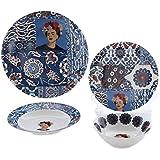 GUOZ Set di Ciotola in Ceramica a 4 Pezzi, Piastra Piana di Design Giapponese * 2-Piastra Profonda * 1-insalataio * 1 Donna autoritratto, Regalo