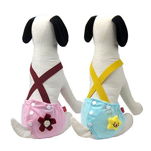 Alfie Pet - Helia Diaper Dog Sanitary Pantie with Suspender 2-Piece Set - Size: Large (for Girl Dogs)