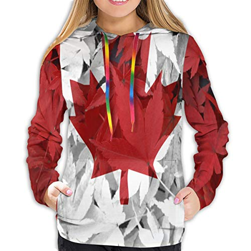 N_A Canada Flag Canadian Maple Leaf Women's Pullover Hoodie 3D Print Fleece Sweatshirt Pocket Hoodie