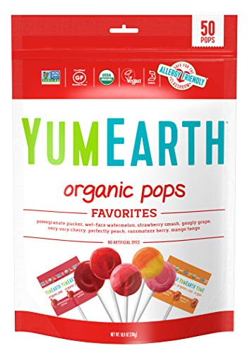 YumEarth Organic Lollipops, Variety Pack, 50 lollipops - 10.9 oz (pack of 1) - Allergy Friendly, Non GMO, Gluten Free, Vegan (Packaging May Vary) by YummyEarth, LLC