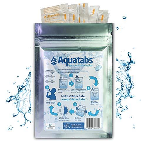 Aquatabs Blueahead NaDCC 100 x 8,5 mg World's #1 - Tabletas de tratamiento de purificación de agua NaDCC Prepper Army Hiking 1 tableta = 1-2 litros (1 paquete)