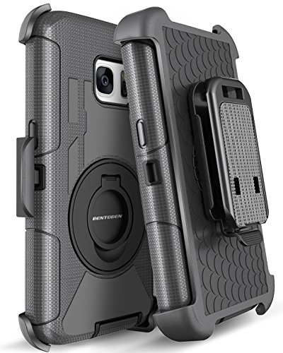Galaxy S7 Case, S7 Case, BENTOBEN 4 in1 Hybrid Shockproof Heavy Duty Rugged Full Body Protective Cover Built-in Rotating Kickstand Swivel Belt Clip Holster Case for Samsung Galaxy S7- Black