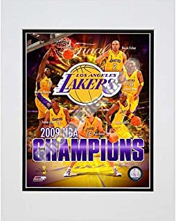 Photo File Los Angeles Lakers 2009 NBA Finals Champions Composite Matted Photo
