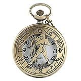 Half Hunter Twelve Constellation Theme Reloj de Bolsillo Colgante Cool Hollow con Cadena Hombres Mujeres Vintage Bronze Best Gift Aquarius