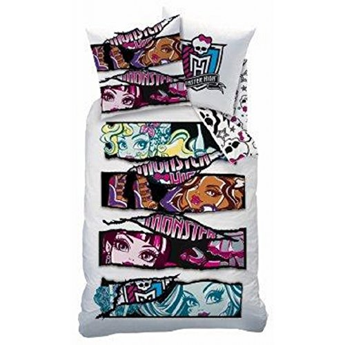 Funda nórdica Monster High 160 x 200 cm + Tamaño 70 x 80 cm, 100% algodón para niño