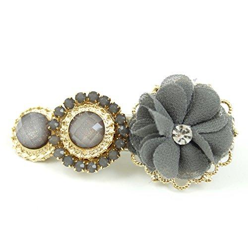 rougecaramel - Accessoires cheveux - Pince fantaisie fleur et métal doré - gris