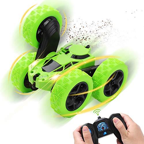 Diealles Shine Rc Stunt Auto 4WD, Auto Ferngesteuert 360° Spins und Flipsmit 2,4 GHz Fernsteuerung für Kinder Jungen Mädchen, Grün