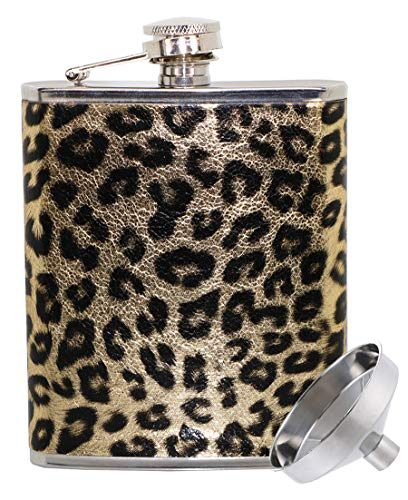 Liquor-Flask for Women Leopard Funny Leakproof - Hip-Flasks for Liquor Stainless-Steel Drinking-Bottle with Funnel (Khaki Leopard 7oz)