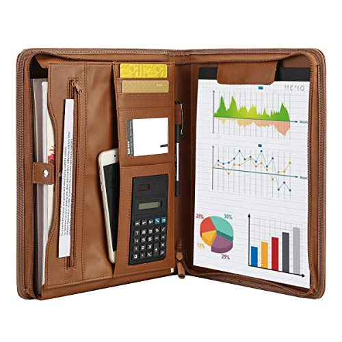Leathario File Folder Padfolio Writing Pad Business Presentation...