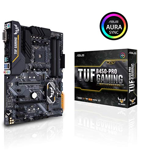 Asus TUF B450-Pro Gaming Mainboard Sockel AM4 (ATX, AMD B450, DDR4-Speicher, duale M.2, native USB 3.1 Gen2, Aura Sync)
