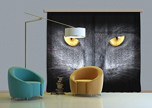 AG Design Zwarte Kat, Gordijn, 280x245 cm, 2 Onderdelen (140x245 cm), FCPXXL 6410, Polyester Multi-Colour, 0.1 x 280 x 245 cm