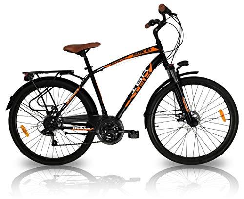 IBK Bici Uomo con Freno a Disco e Cambio, Bicicletta da Città City Bike Trekking 21 velocità Shimano Ammortizzata, Nero, M-L