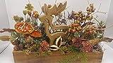 Seidenblumengesteck Herbstgesteck Kunstblumen Hirsch Pilze Zapfen Beeren orange