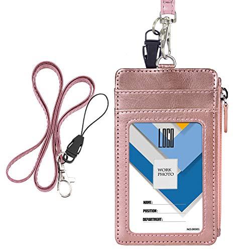 Wisdompro - Porta badge con cerniera, 1 finestra per documento d'identità, 4 scomparti per tessere, 1 tasca laterale con cerniera e 1 cordino da collo in poliuretano da 50,8 cm Vertical Oro rosa