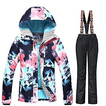 Women s Ski Bib Suit Jacket Waterproof Snowboard Colorful Printed Ski Jacket and Pants Set