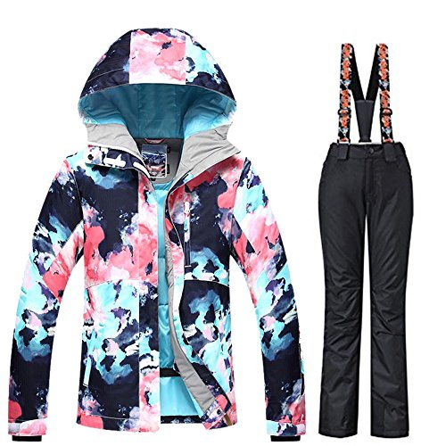 RIUIYELE Women's Ski Bib Suit Jacket Waterproof Snowboard Colorful Printed Ski Jacket and Pants Set
