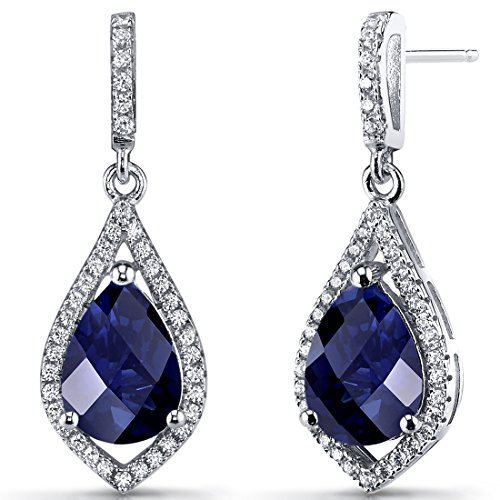 Created Blue Sapphire Tear Drop Dangle Earrings Sterling Silver 5 Carats