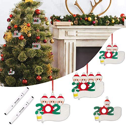 Kardition 2020 Adornos Navideños, Adornos Árbol de Navidad Decoraciones Navideñas Personalizadas para Familias Sobrevivida, Regalo Creativo de Navidad Decoración Casa, Familia de 1,2,3,4 [6 PCS]