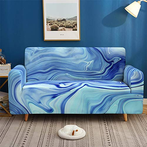 Morbuy Sofa Cover for 1 2 3 4 Seater, Nordic Sofa Slipcovers Stretch Fabric Washable Sofa Protector for Leather Sofas + Sticky Roller Gift x 1 (Ocean Blue,4 seater)