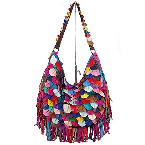 Segater® Damen Schultertaschen Hobo Bag aus Schaffell Mehrfarben-Patchwork-Umhängetasche 3D Leaf Pattern bunte Quaste Handtasche Geldbörsen Mehrfarbig