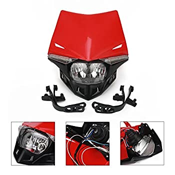 Universal Motorcycle Supermoto Headlight LED Dirt Bike Headlight Front Head Light For For CFR250R CFR450R CFR450X CFR250X XR250 Red