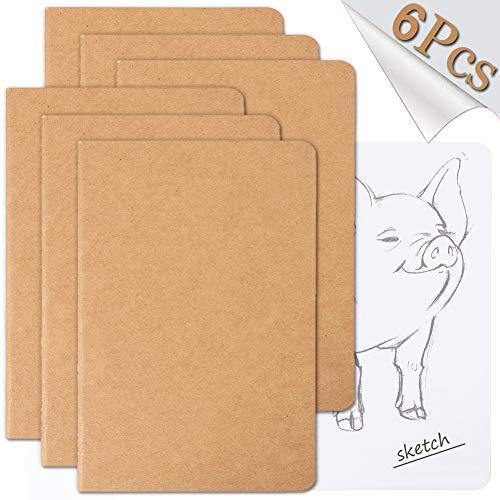 Reisetagebuch-Set mit 6 Notizbüchern für Reisende – weicher brauner Kraftpapier-Einband – A5-Größe – 210 x 140mm – 60 Seiten/30 Blatt 6 Stück Blank