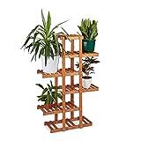 relaxdays 10020746_533 scaffale porta-fiori 5 ripiani legno fioriera verticale a scala da interno hlp: 125 x 81 x 25 cm marrone chiaro