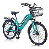 TAOCI E-Bike für Damen, für jedes Gelände, 26 Zoll, 36 V, 250/350 W, Shimano, 7 Gänge, abnehmbarer Lithium-Ionen-Akku, Mountain-Bike für Outdoor, Radfahren, Reisen, Workout