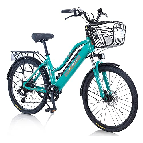 TAOCI Vélo électrique pour femme adulte tout terrain 26' 36 V 250/350 W Shimano 7 vitesses Batterie lithium-ion amovible pour vélo de plein air, voyage, entraînement