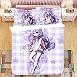 SLQL Juego de ropa de cama Anime Themed de ropa de cama para niña con mochila escolar, juego de 3 piezas, funda nórdica y 2 fundas de almohada de microfibra suave 135 x 200 cm