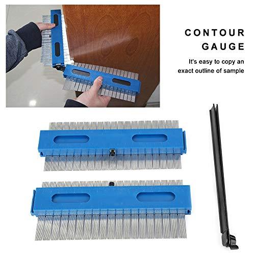 Contour Messgerät Duplicator Werkzeug-Set - 2 * 200mm 2 in 1 Metall Kontur Profilform Lineal zur Holz Spur Schablone Tracing Werkzeugvermessung