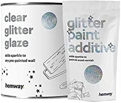 Hemway Holographic - clear glitter glaze for already painted walls & ceilings - for dispersion, acrylic & latex paint - for wood, lacquer, matt, glossy colors - 25 glitter colors - 1 liter