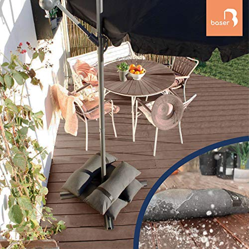 Fillable Umbrella Weights Sandbags for Outdoor Garden Furniture Offset and Cantilever Umbrellas, Trampoline, Drying Rack or Extra Weight for Patio Umbrella Base (Sand Not Included) (4 x up to 55 lbs)