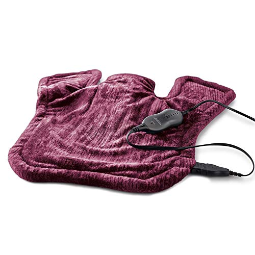 Sunbeam Heating Pad for Neck & Shoulder Pain Relief, XL Renue, 4 Heat Settings with Auto-Shutoff, Burgundy, 25-Inch x 25-Inch Red Burgundy, 1 Count