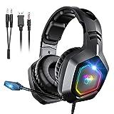 Snoky Gaming Headset für PS4, PC, Over-Ear Gaming Kopfhörer mit geräuschunterdrückendem Mikrofon RGB-Licht und Stereo-Surround-Sound, kompatibel mit PC, PS4, Xbox One, Laptop
