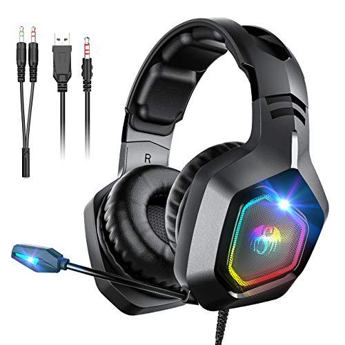 Snoky Cuffie Gaming PS4, controllo del volume di cancellazione del rumore in ingresso da 3,5 mm, luce RGB, adatte per Xbox One, PS4, PC,Switch (nero)